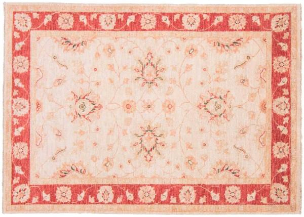 Afghan Chobi Ziegler 143x102 Handgeknüpft Teppich 100x140 Beige Orientalisch Kurzflor