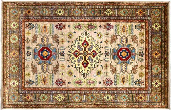 Afghan Kazak Fein 203x147 Handgeknüpft Orientteppich 150x200 Beige Geometrisch Wolle