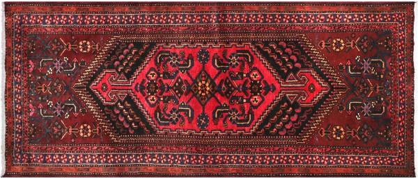Perser Hamedan Teppich 100x230 Handgeknüpft Rot spiegelmuster Wolle Kurzflor Rug