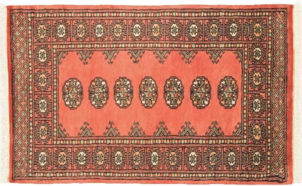 Pakistan Buchara 125x78 Handgeknüpft Teppich 80x130 Orange Geometrisch Muster Kurzflor