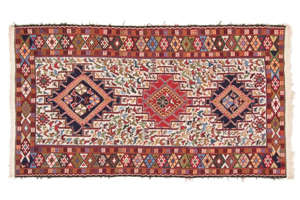 Perser Sumakh 205x117 Handgewebt Teppich 120x210 Mehrfarbig Orientalisch Handarbeit