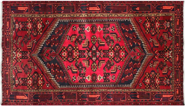 Perser Hamedan Teppich 130x200 Handgeknüpft Rot spiegelmuster Wolle Kurzflor Rug