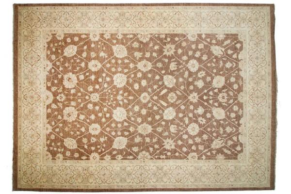 Afghan Chobi Ziegler 421x306 Handgeknüpft Teppich 310x420 Braun Geometrisch Muster