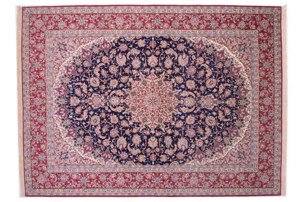 Perser Isfahan 340x253 Handgeknüpft Teppich 250x340 Blau Orientalisch Kurzflor Orient