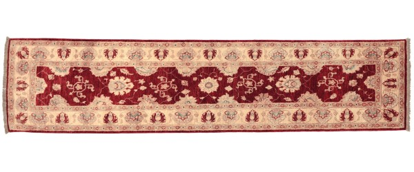 Afghan Chobi Ziegler 294x79 Handgeknüpft Teppich 80x290 Läufer Rot Orientalisch
