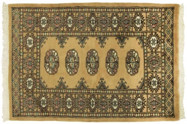 Pakistan Buchara 95x66 Handgeknüpft Teppich 70x100 Beige Geometrisch Muster Kurzflor