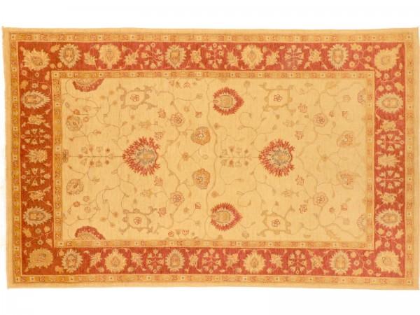 Afghan Chobi Ziegler 248x157 Handgeknüpft Teppich 160x250 Beige Blumenmuster Kurzflor