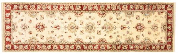 Afghan Chobi Ziegler 301x89 Handgeknüpft Teppich 90x300 Läufer Beige Blumenmuster
