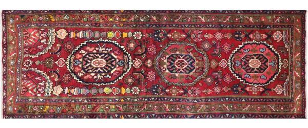 Perser Hamedan Teppich 110x270 Handgeknüpft Läufer Rot spiegelmuster Wolle Kurzflor Rug