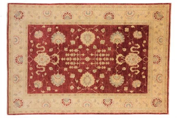 Afghan Chobi Ziegler 305x209 Handgeknüpft Teppich 210x310 Beige Blumenmuster Kurzflor