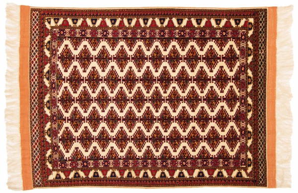 Afghan Mauri Kabul 146x110 Handgeknüpft Teppich 110x150 Rot Geometrisch Muster Kurzflor