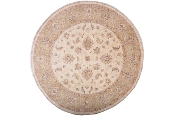 Afghan Chobi Ziegler Rund 200x197 Handgeknüpft Teppich 200x200 Quadratisch Beige