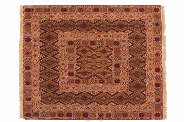 Afghan Mushwani Kelim 167x139 Handgewebt Teppich 140x170 Mehrfarbig Orientalisch