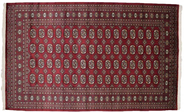 Pakistan Buchara 250x157 Handgeknüpft Teppich 160x250 Rot Geometrisch Muster Kurzflor