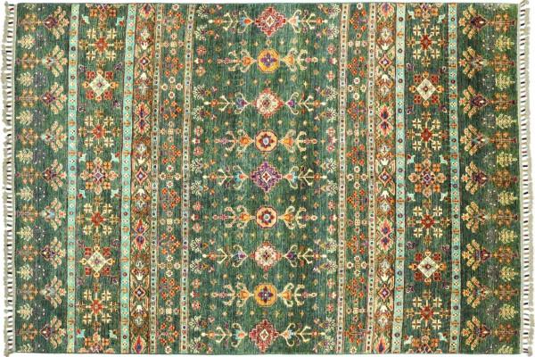 Afghan Khorjin Shaal 240x173 Handgeknüpft Orientteppich 170x240 grün Streifen Wolle