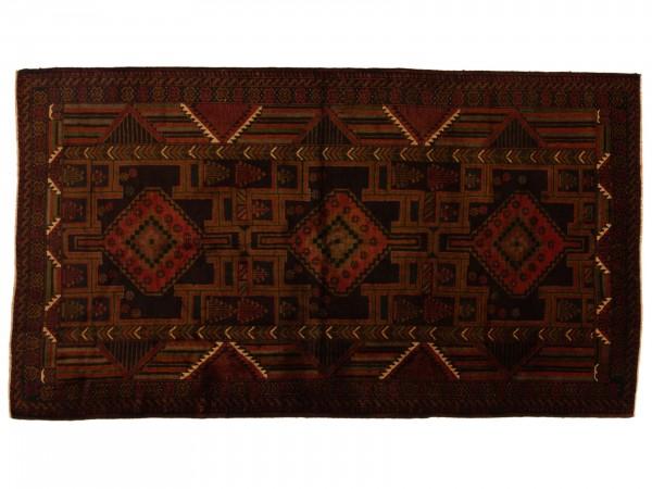 Afghan Belutsch 203x115 Handgeknüpft Teppich 120x200 Mehrfarbig Orientalisch Kurzflor