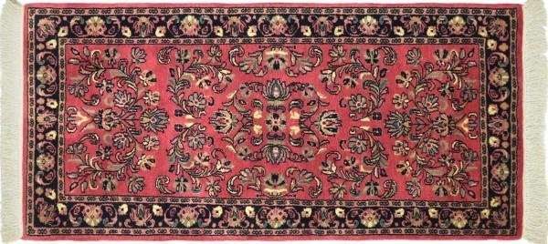 Sarough Teppich 70x140 Handgeknüpft Rosa Floral Wolle Kurzflor Rug