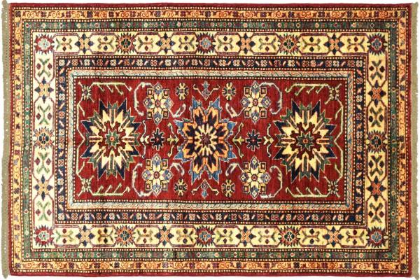 Afghan Kazak Fein 158x99 Handgeknüpft Orientteppich 100x160 Rot Umrandung Wolle