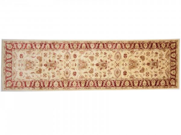 Afghan Chobi Ziegler 288x82 Handgeknüpft Teppich 80x290 Läufer Beige Blumenmuster