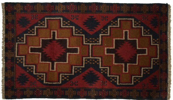 Afghan Belutsch 125x80 Handgeknüpft Teppich 80x130 Rot Geometrisch Muster Kurzflor