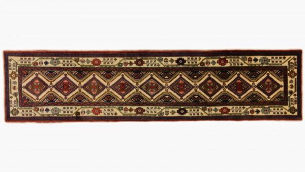 Perser Hamadan 308x75 Handgeknüpft Teppich 80x310 Läufer Mehrfarbig Geometrisch Muster