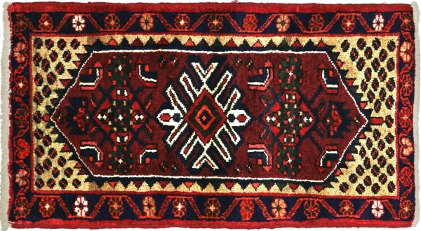 Perser Hamadan Blumen 105x65 Handgeknüpft Orientteppich 70x110 Rot Blumenmuster Wolle