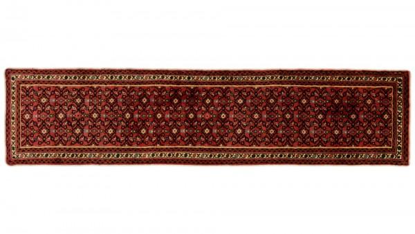 Perser Hamedan Teppich 70x290 Handgeknüpft Läufer Rot spiegelmuster Wolle Kurzflor Rug