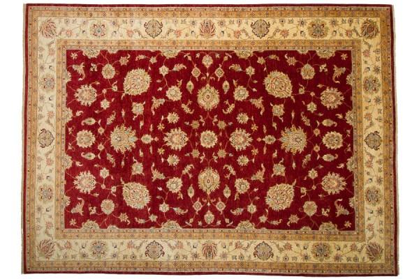 Afghan Chobi Ziegler 354x260 Handgeknüpft Teppich 260x350 Rot Orientalisch Kurzflor