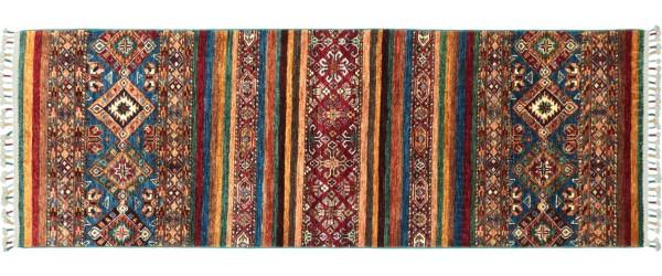 Afghan Ziegler Khorjin Teppich 80x200 Handgeknüpft Läufer Rot Geometrische Wolle