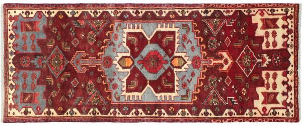 Perser Hamedan Teppich 80x190 Handgeknüpft Rot spiegelmuster Wolle Kurzflor Rug