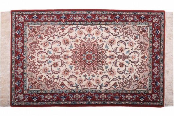 Perser Isfahan 120x76 Handgeknüpft Teppich 80x120 Beige Orientalisch Kurzflor Orient