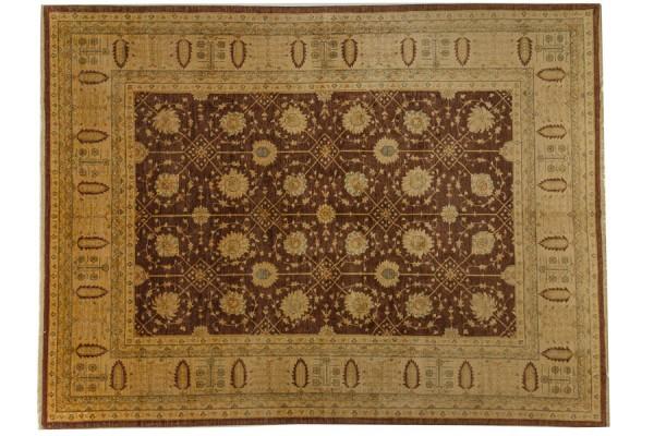 Afghan Chobi Ziegler 394x297 Handgeknüpft Teppich 300x390 Braun Orientalisch Kurzflor
