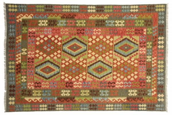 Afghan Maimana Kelim Bunt 298x196 Handgewebt Teppich 200x300 Mehrfarbig Geometrisch