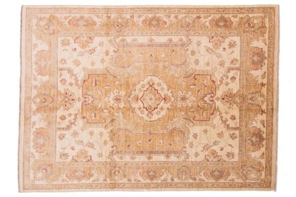 Afghan Chobi Ziegler 204x154 Handgeknüpft Teppich 150x200 Beige Orientalisch Kurzflor