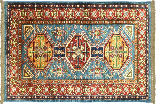 Afghan Kazak Fein 125x81 Handgeknüpft Orientteppich 80x130 Rot Umrandung Wolle Kurzflor