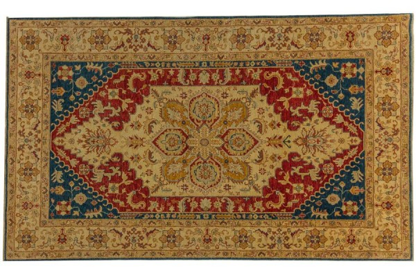 Afghan Chobi Ziegler 294x177 Handgeknüpft Teppich 180x290 Beige Geometrisch Muster