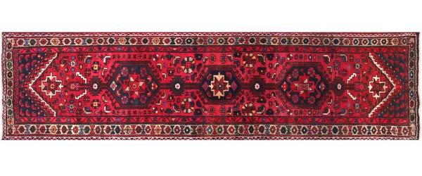 Perser Hamedan Teppich 90x320 Handgeknüpft Läufer Rot spiegelmuster Wolle Kurzflor Rug