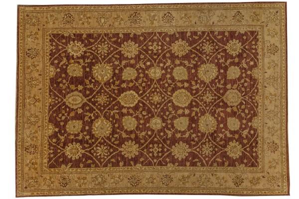 Afghan Chobi Ziegler 381x275 Handgeknüpft Teppich 280x380 Braun Orientalisch Kurzflor