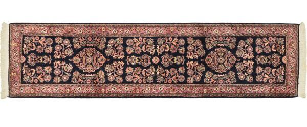 Sarough Teppich 70x270 Handgeknüpft Läufer Blau Floral Wolle Kurzflor Rug