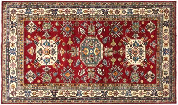 Afghan Kazak Fine Teppich 170x270 Handgeknüpft Rot Geometrische Wolle Kurzflor Rug