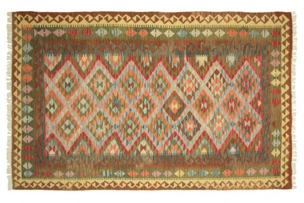Afghan Maimana Kelim Bunt 247x158 Handgewebt Teppich 160x250 Grün Geometrisch Muster