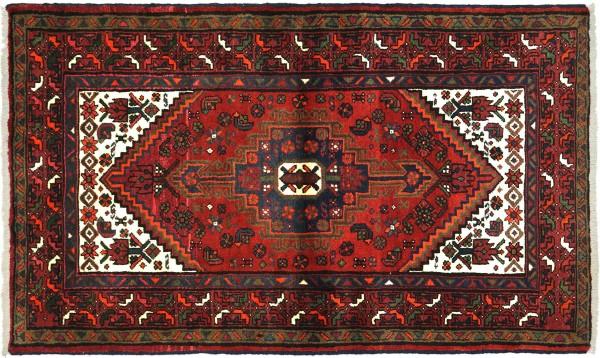 Perser Hamadan 144x97 Handgeknüpft Orientteppich 100x140 Rot Medaillon Wolle Kurzflor