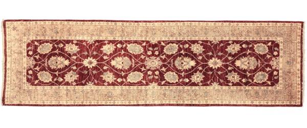 Afghan Chobi Ziegler 257x86 Handgeknüpft Teppich 90x260 Läufer Rot Blumenmuster