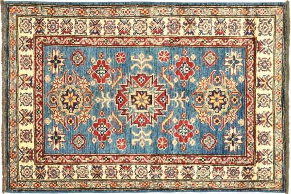 Afghan Kazak Fein 119x90 Handgeknüpft Orientteppich 90x120 Blau Umrandung Wolle