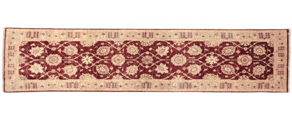 Afghan Chobi Ziegler 301x78 Handgeknüpft Teppich 80x300 Läufer Rot Orientalisch