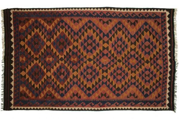 Afghan Maimana Kelim 253x154 Handgewebt Teppich 150x250 Mehrfarbig Geometrisch Muster