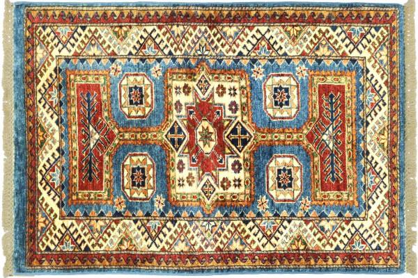 Afghan Super Kazak 121x74 Handgeknüpft Orientteppich 70x120 Hellblau Umrandung Wolle