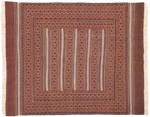 Afghan Mushwani Kelim 183x148 Handgewebt Teppich 150x180 Mehrfarbig Geometrisch Muster