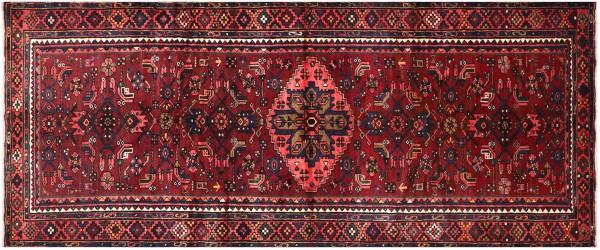 Perser Hamedan Teppich 140x320 Handgeknüpft Rot spiegelmuster Wolle Kurzflor Rug