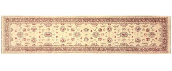Afghan Chobi Ziegler 293x74 Handgeknüpft Teppich 70x290 Läufer Beige Orientalisch